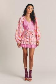 LOVESHACKFANCY RINA COTTON RUFFLE MINI DRESS EXPLODED PINK FLORAL