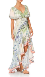 CAMILLA SILK FRILL SLEEVE LONG DRESS BEACH PRINT (KOPIA)
