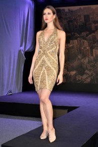 ELLIE SAAB GOLD BEADED AND SEQUINED DRESS