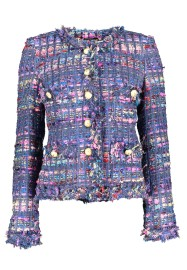MARUSCHKA DE MARGO RAINBOW BLUE TWEED JACKET