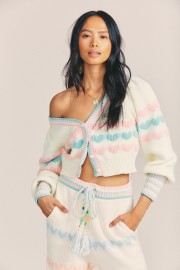 LOVESHACKFANCY BUENA COTTON CROPPED CARDIGAN FAIRY FOREST