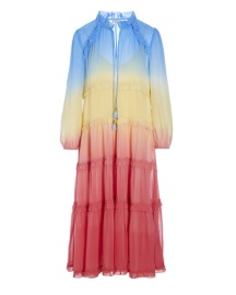 DEA KUDIBAL FELINA SILK CREPE DRESS RAINBOW
