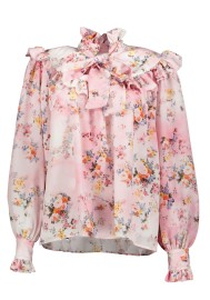 MSGM FLORAL RUFFLE BLOUSE