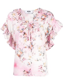 MSGM FLORAL RUFFLE TIE NECK BLOUSE