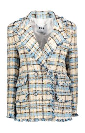 MSGM CHECK TWEED TURQUOISE BLAZER