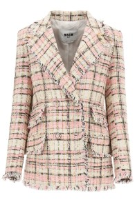 MSGM CHECK TWEED PINK BLAZER