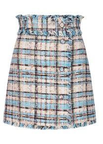 MSGM CHECK TURQUOISE TWEED A LINE SKIRT