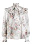 MSGM GREY FLORAL RUFFLE BLOUSE