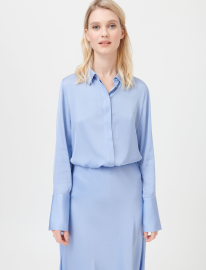 DEA KUDIBAL CHELSEA STRETCH SILK BLOUSE HIDDEN CLOSURE DOVE BLUE