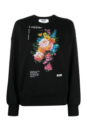 MSGM BLACK FLORAL ECO SWEATSHIRT