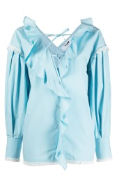 MSGM TURQUOISE RUFFLE FRONT BLOUSE