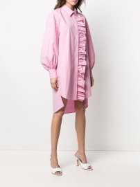 MSGM LONG SLEEVE PINK RUFFLE SHIRT DRESS