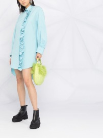 MSGM LONG SLEEVE TURQUOISE RUFFLE SHIRT DRESS