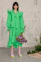 MSGM GREEN RUFFLE MIDI DRESS