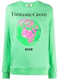 MSGM LUMINOUS FANTASTIC GREEN SWEATSHIRT