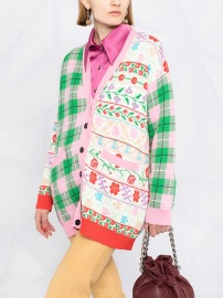 MSGM FLORAL & CHECK COTTON CARDIGAN