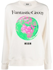 MSGM WHITE FANTASTIC GREEN SWEATSHIRT