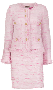 MARUSCHKA DE MARGO PINK TWEED SUIT GOLD BUTTONS