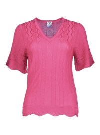 MISSONI HERITAGE KNIT CERISE SHORT SLEEVE SCALLOP TOP