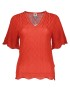 MISSONI HERITAGE RED KNIT SHORT SLEEVE SCALLOP TOP