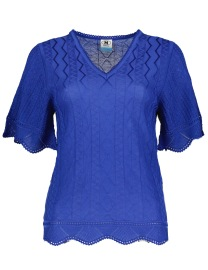 MISSONI HERITAGE ROYAL BLUE KNIT SHORT SLEEVE SCALLOP TOP
