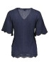 MISSONI HERITAGE NAVY BLUE KNIT SHORT SLEEVE SCALLOP TOP