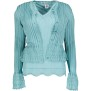 MISSONI HERITAGE AQUA KNIT SHORT SLEEVE SCALLOP TOP