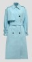 MSGM TURQUOISE POPLIN COTTON TRENCH
