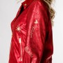 HISTORY REPEATS RED LUREX EMBROIDERED BIKER JACKET