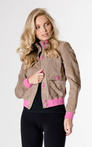 HISTORY REPEATS SUEDE ALMOND BOMBER JACKET