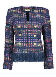 MARUSCHKA DE MARGO RAINBOW BLUE TWEED FRINGED JACKET