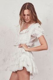 LOVESHACKFANCY LIV PINTUCK & LACE RUFFLE DRESS