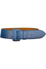MAISON VAINCOURT BLUE LEATHER COVERED BUCkLE BELT