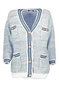 PARIS PICKED BLUE CHANEL STYLE LONG CARDIGAN