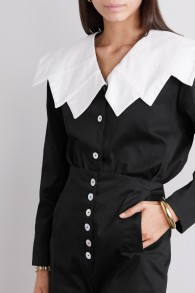 ACHEVAL BLACK BLOUSE WITH WHITE COLLAR