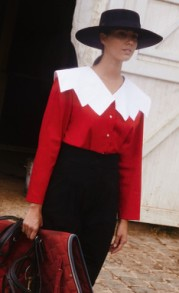 ACHEVAL RED BLOUSE WITH WHITE COLLAR