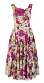 SAMANTHA SUNG DAISY POPPY WHITE PINK ASTER DRESS