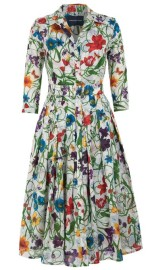 SAMANTHA SUNG VINTAGE BOTANICAL WHITE MULTI AUDREY DRESS
