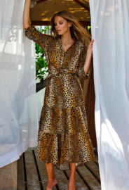 MELISSA ODABASH SONJA LONG SLEEVE CHEETAH MAXI DRESS