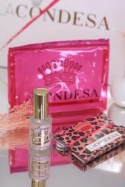 LA CONDESA PINK LEOPARD MASK & PERFUME STERILIZER SET WITH TOILETRY BAG