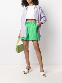 MSGM LOGO SWEAT SHORTS GREEN