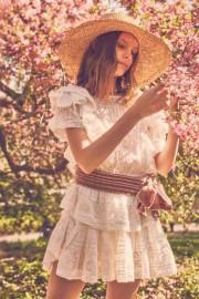 LOVESHACKFANCY STELLA COTTON LACE RUFFLE DRESS