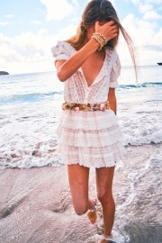 LOVESHACKFANCY WHITE QUINCY LACE COTTON RUFFLE MINI DRESS