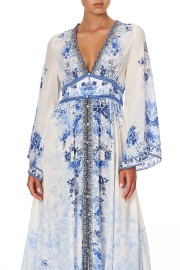 CAMILLA SILK KIMONO SLEEVE SHIRRED DRESS HIGH TEA