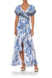 CAMILLA SILK FRILL SLEEVE LONG DRESS HIGH TEA