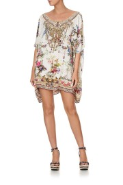 CAMILLA SILK SHORT ROUND NECK KAFTAN BY THE MEADOW