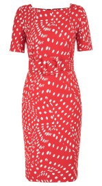 SAMANTHA SUNG DRAPERY DOTS RED CELINE DRESS BOAT NECK