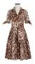 SAMANTHA SUNG DIOR LEOPARD BEIGE AUDREY DRESS IN COTTON STRETCH