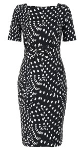 SAMANTHA SUNG DRAPERY DOTS BLACK CELINE DRESS BOAT NECK