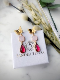 SANDRA TERESA CRYSTAL DROP EARRINGS PINK RED